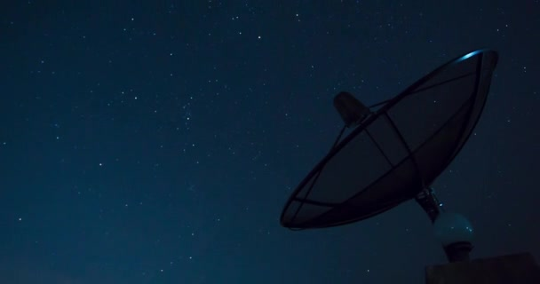 Stars Sky Turning Space Astrophotography Time Lapse with Satellite dish communication technology network .