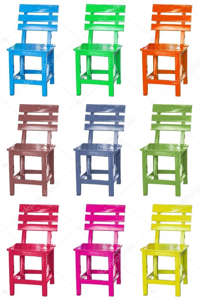 Gruppo di colorata sedia in legno d\'epoca — Foto Stock © sirikornt ...