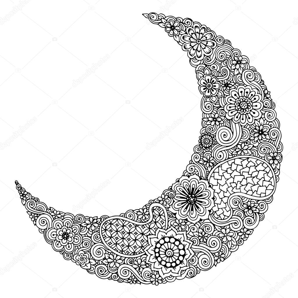Lune dessiné de main de fleurs, mandalas et paisley. Motif floral ...