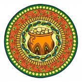 Svatého Patricks den motiv mandaly s irským hrnec zlata a zlatých mincí s jetelem a etnické květinový ornament