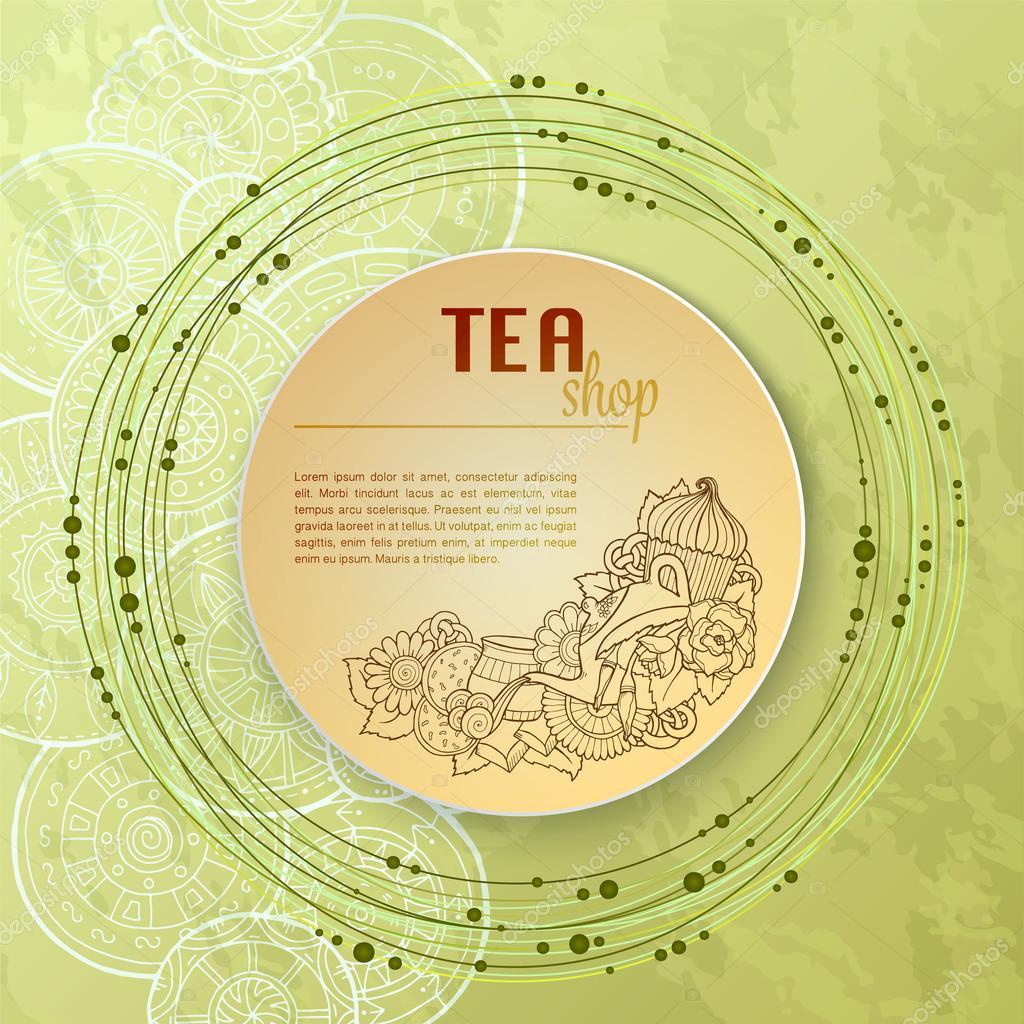 Tee und Blumen Gekritzel Vorlage Muster Einladung. Grußkarte. Tee ...