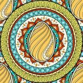 Easter theme mandala with doodle egg. Ethnic floral pattern. Henna paisley mehndi tribal seamless background