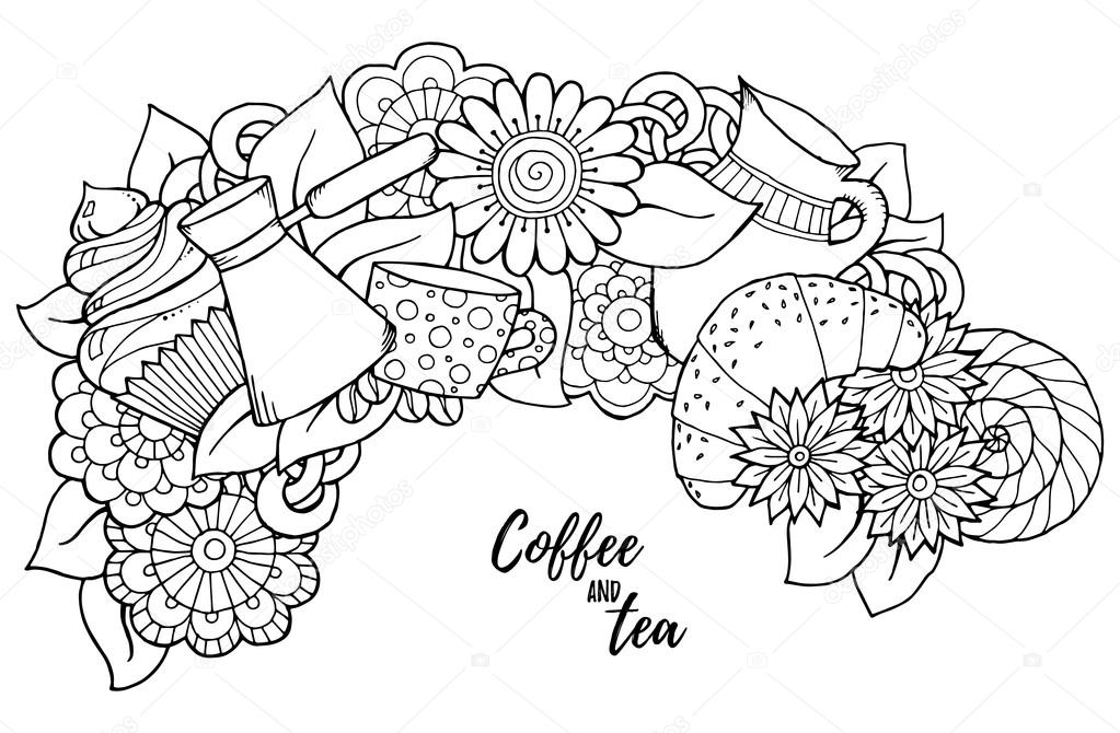 Pattern with coffee cezve, pot, jug, tea cup, croissant, cupcake, sweets, flowers. For coloring book pages for adults and kids.