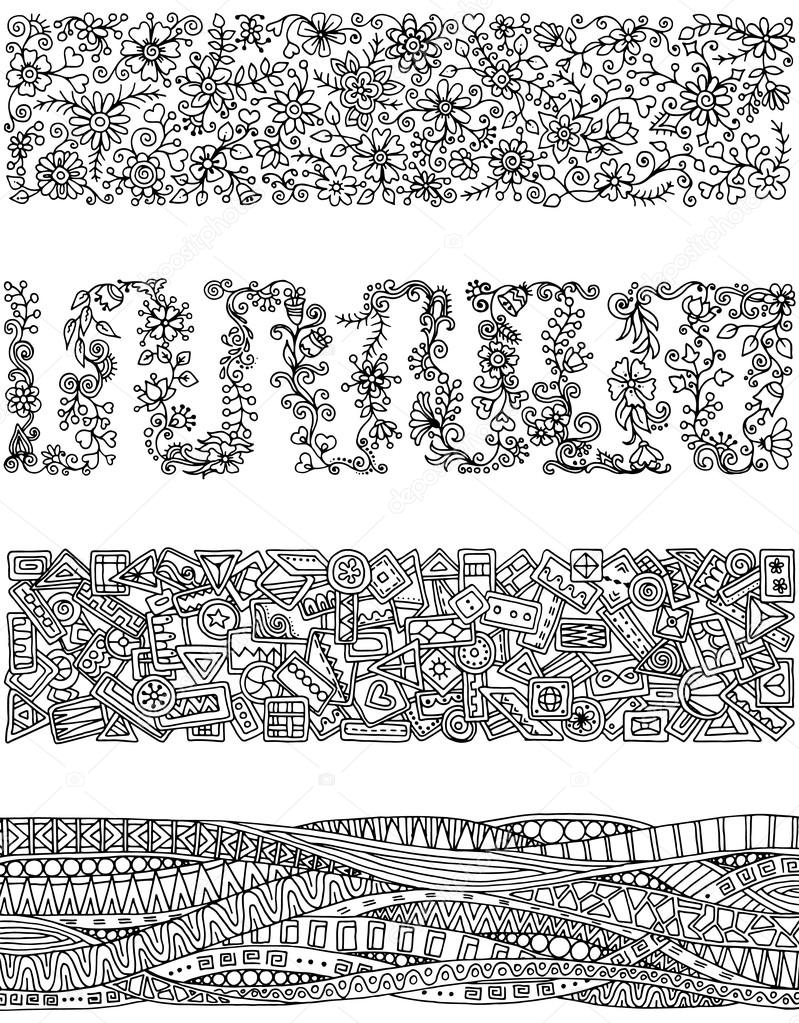 Floral set of horizontal borders for your design. Bouquet of beautiful flowers. Doodle floral patterns. Black and white patterns