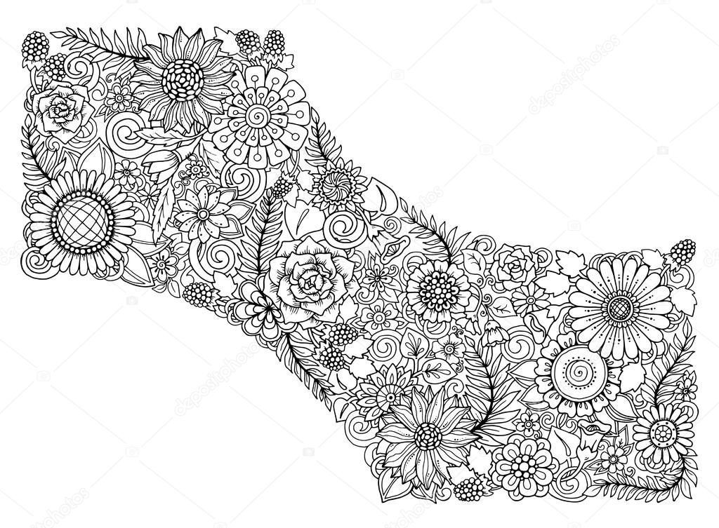 Floral card. Black and white hand drawn pattern with flowers. For web,  invitation, greeting card, coloring book.