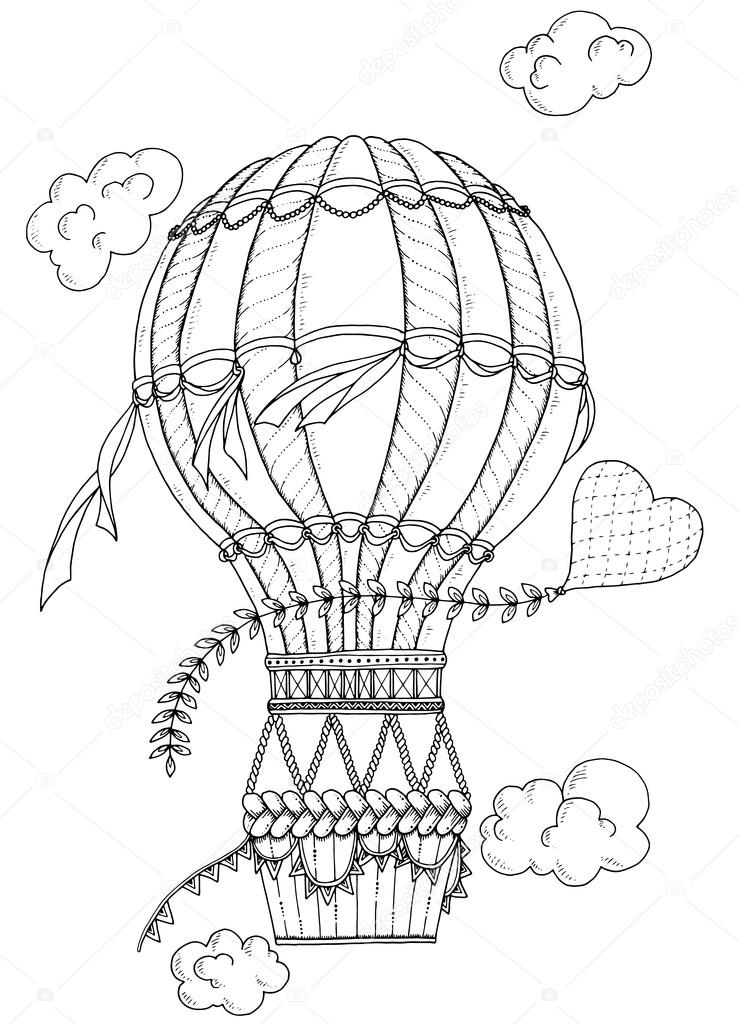 Black and white air balloon and doodle heart. Zentangle inspired pattern with aerostat for coloring book for adults and kids.