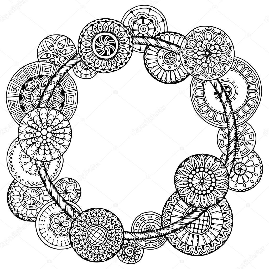 Mandala theme. Floral wreath pattern with dots, lines and flowers. Black and white circle flower ornament. Floral mandala.