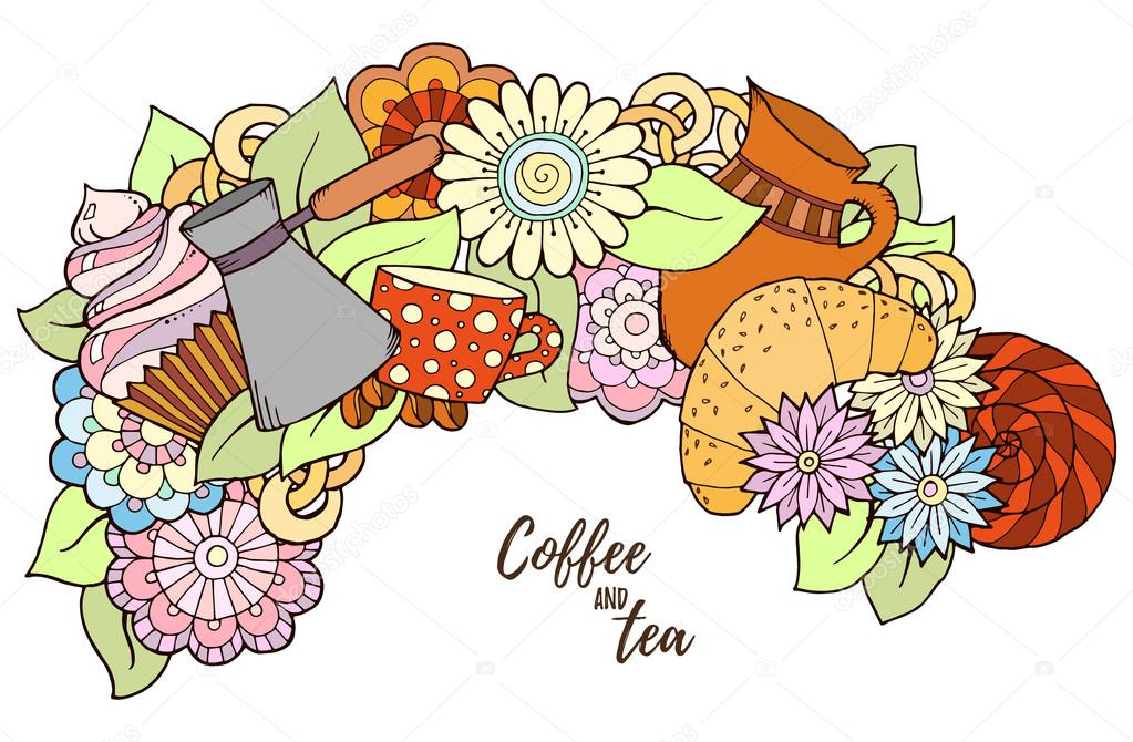 Pattern with coffee cezve. Tea and coffee hand drawn pattern. Background element for menu, site, cafe, restaurant, teahouse.