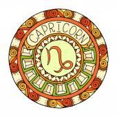 Mandala with capricorn zodiac sign. Hand drawn tribal mandala horoscope symbol for tattoo art, printed media design, stickers.