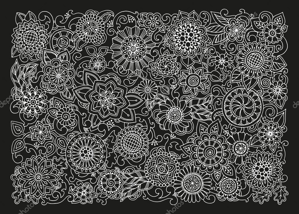 Hand drawn pattern with flowers. Black and white. For web, printed media design, banner, flyer, invitation, greeting card