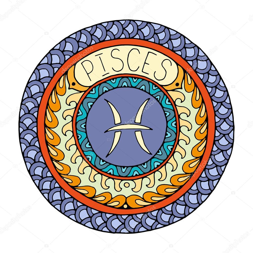 Mandala With Pisces Zodiac Sign Hand Drawn Tribal Mandala Horoscope