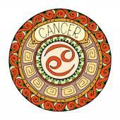 Mandala with cancer zodiac sign.Hand drawn tribal mandala horoscope symbol for tattoo art, printed media design, stickers, etc.