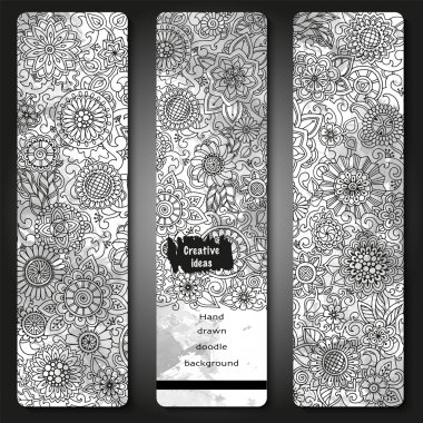 Set of vector template banners with watercolor paint abstract background and doodle hand drawn flowers. Black and white pattern.