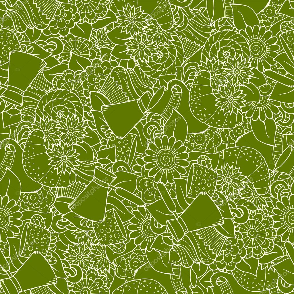 Seamless tea and coffee doodle pattern with paisley and flowers. Ethnic zentangle pattern. Hand Drawn.