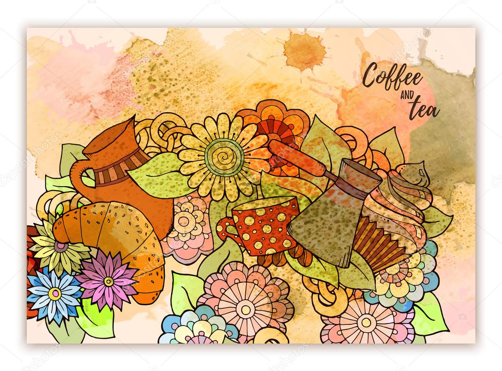 Tea and coffee hand drawn pattern with watercolor splash. Background element for menu, site, cafe, restaurant, teahouse.