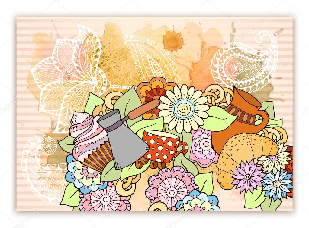Breakfast theme. Pattern with tea cup, sweets and flowers. Tea and coffee hand drawn pattern with watercolor splash. Background element for menu, site, cafe, restaurant, teahouse.