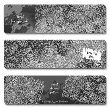 Set of vector template banners with watercolor paint abstract ba
