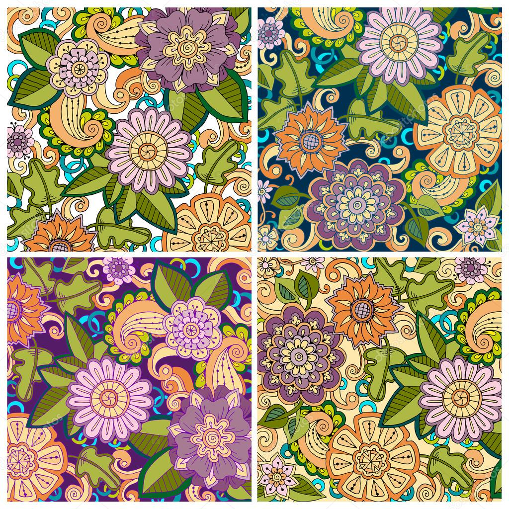 Set of colored hand drawn patterns with flowers. Ornate patterns