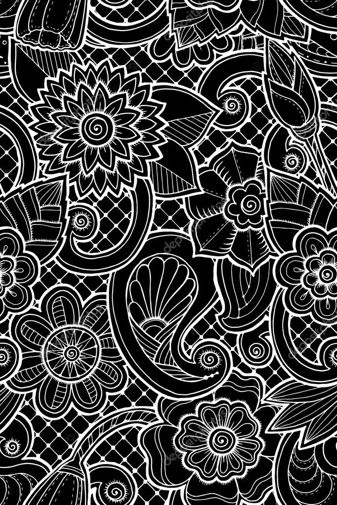 Seamless pattern with flowers and butterfly. Ornate zentangle seamless texture, pattern with abstract flowers. Floral pattern can be used for wallpaper, pattern fills, web page background.