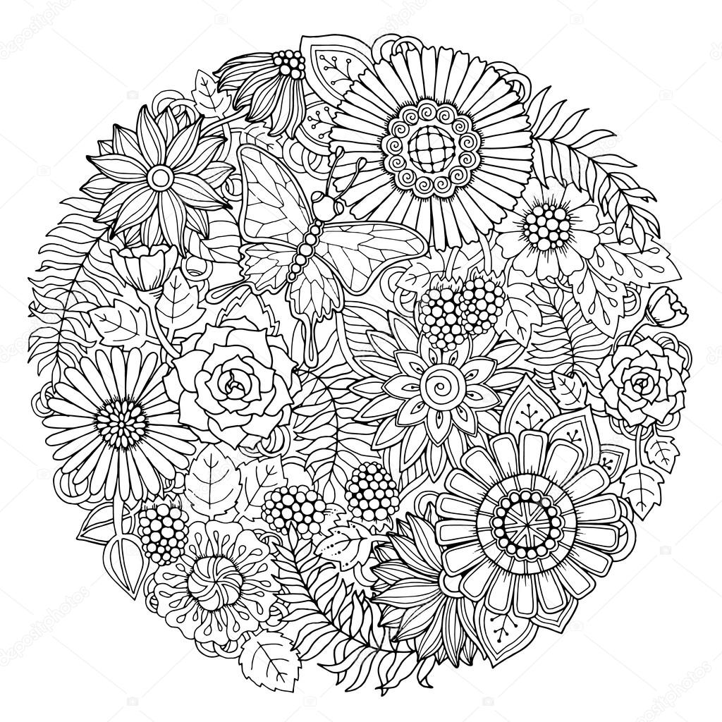 Simple Zentangle Flowers Circle Summer Doodle Flower Ornament With Butterfly Hand Drawn Art Floral Mandala Black And White Background Zentangle Inspired Pattern For Coloring Book Pages For Adults And Kids