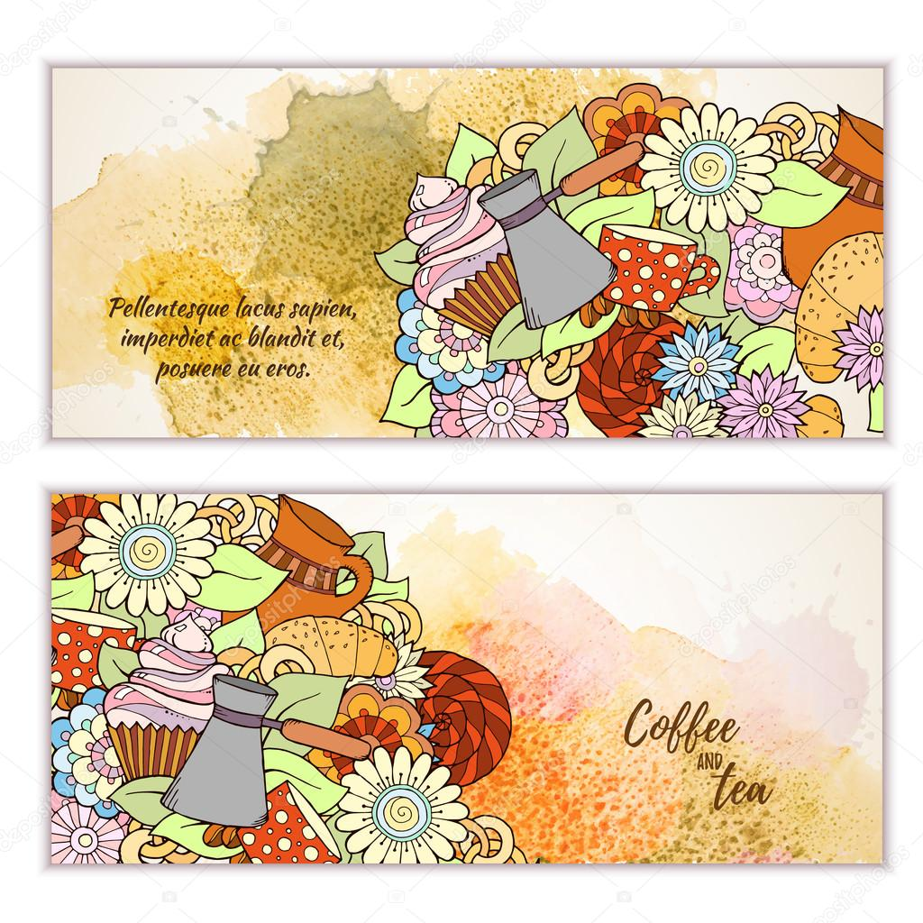 Breakfast banners. Pattern with coffee cezve, sweets and flowers. Tea and coffee hand drawn pattern. Card background for menu, site, cafe, restaurant, teahouse.