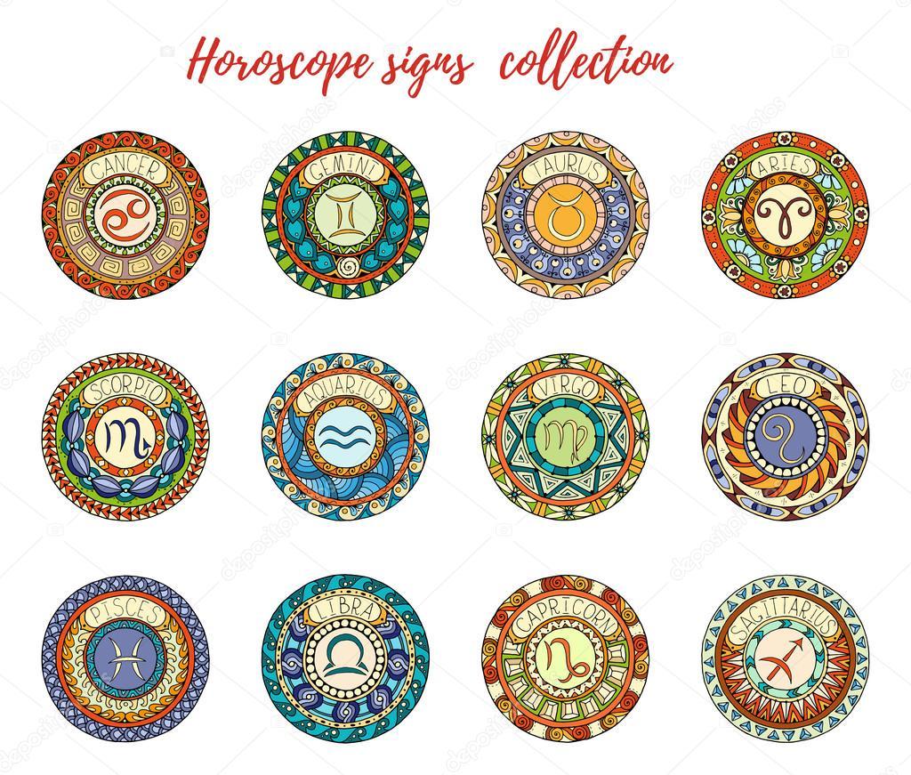 Tema Matrimonio Segni Zodiacali : Tema di segni zodiacali set mandala con