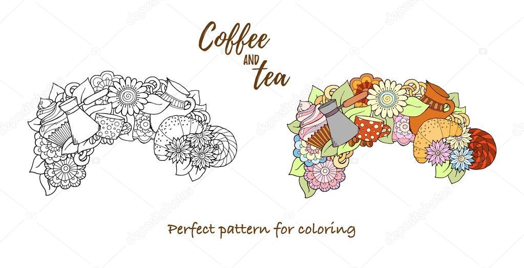 Té y café a mano patrón dibujado. Elemento de fondo para el menú de ...