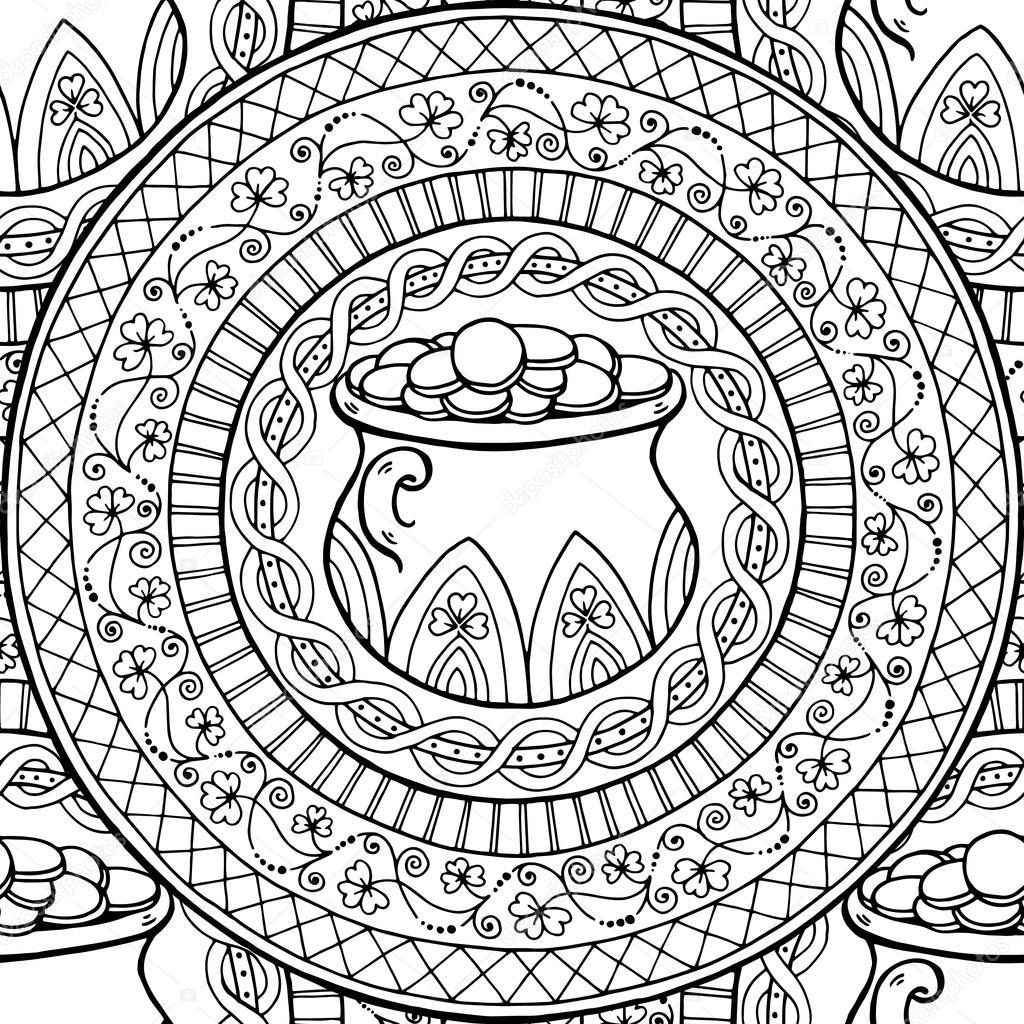 Mandala de tema del día de San Patricio con el pote de irlandés ...
