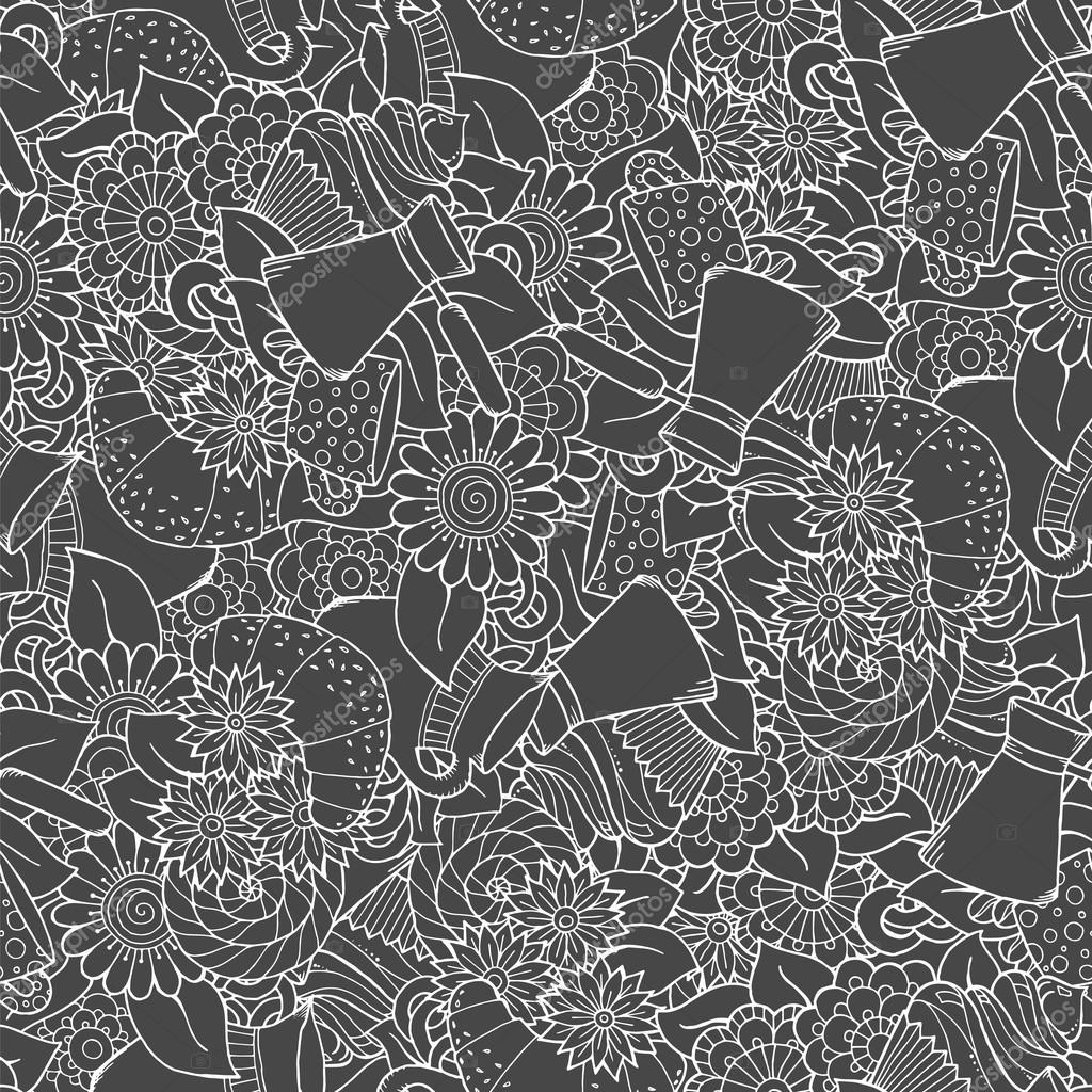 Seamless tea and coffee doodle pattern with paisley and flowers. Ethnic zentangle pattern template can be used for menu, wallpaper, pattern fills. Hand Drawn. Monochrome pattern.
