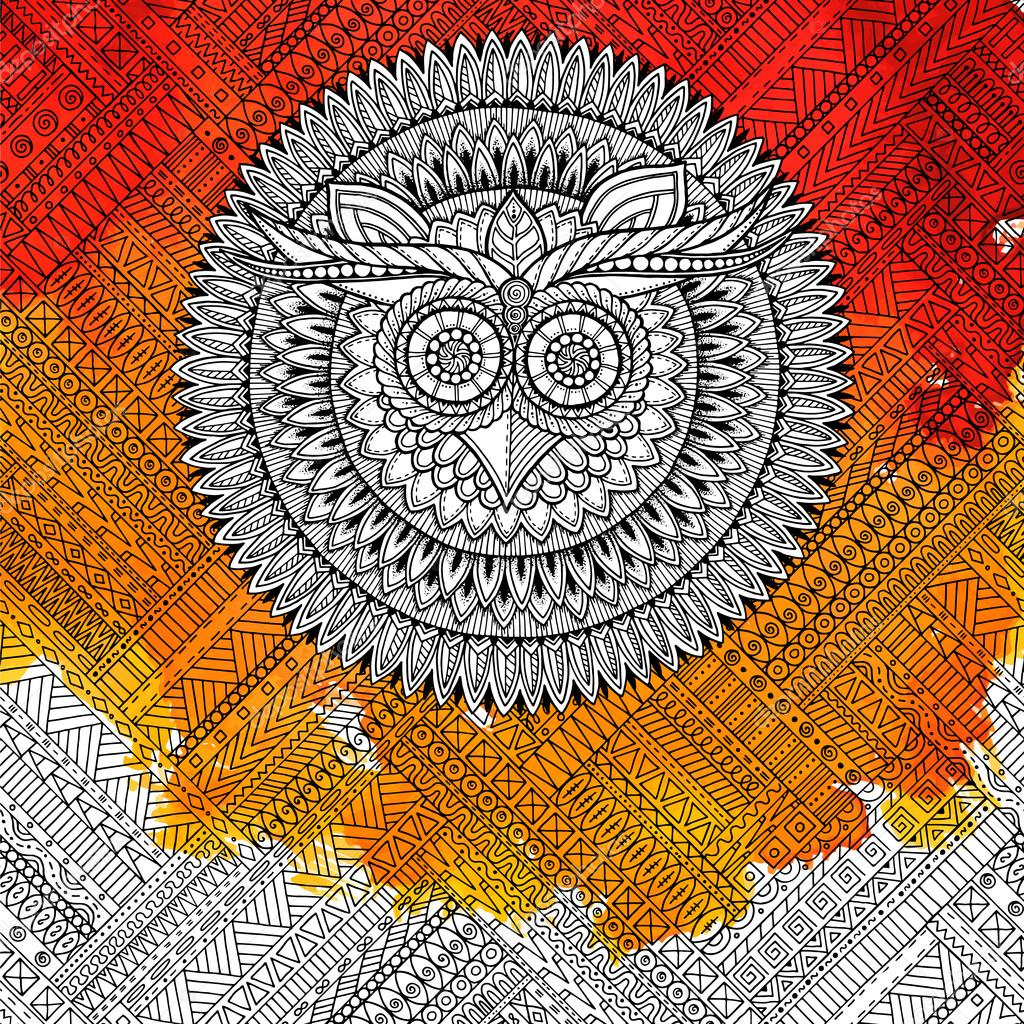 Tema De La Mandala De Pájaros Mandala De Búho Blanco Con Patrón
