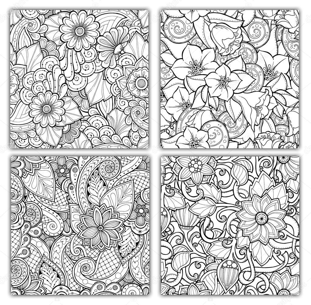 Seamless patterns with stylized flowers. Ornate zentangle seamless textures, patterns with abstract flowers. Floral patterns can be used for wallpaper, pattern fills, web page background.
