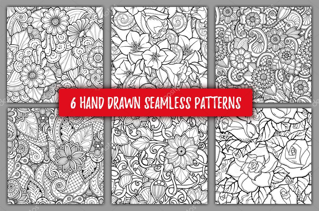 Set of seamless patterns with stylized flowers. Ornate zentangle seamless textures, patterns with abstract flowers. Floral patterns can be used for wallpaper, pattern fills, web page background.