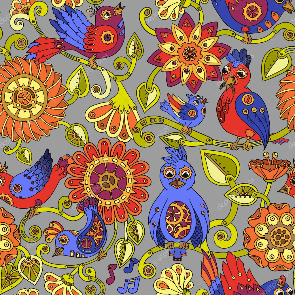 Doodle seamless background with steampunk birds and flowers. Vector ethnic pattern can be used for wallpaper, pattern fills, invitations, book cover, web pages. Colorful hand drawn pattern.