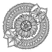 Photo Circle summer doodle flower ornament. Hand drawn art mandala. Made by trace from sketch. Black and white ethnic background. Zentangle pattern for coloring book for adults and kids.