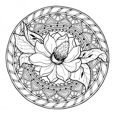 Floral theme. Circle summer doodle flower ornament. Hand drawn magnolia art mandala. Black and white ethnic background. Zentangle pattern for coloring book for adults and kids.