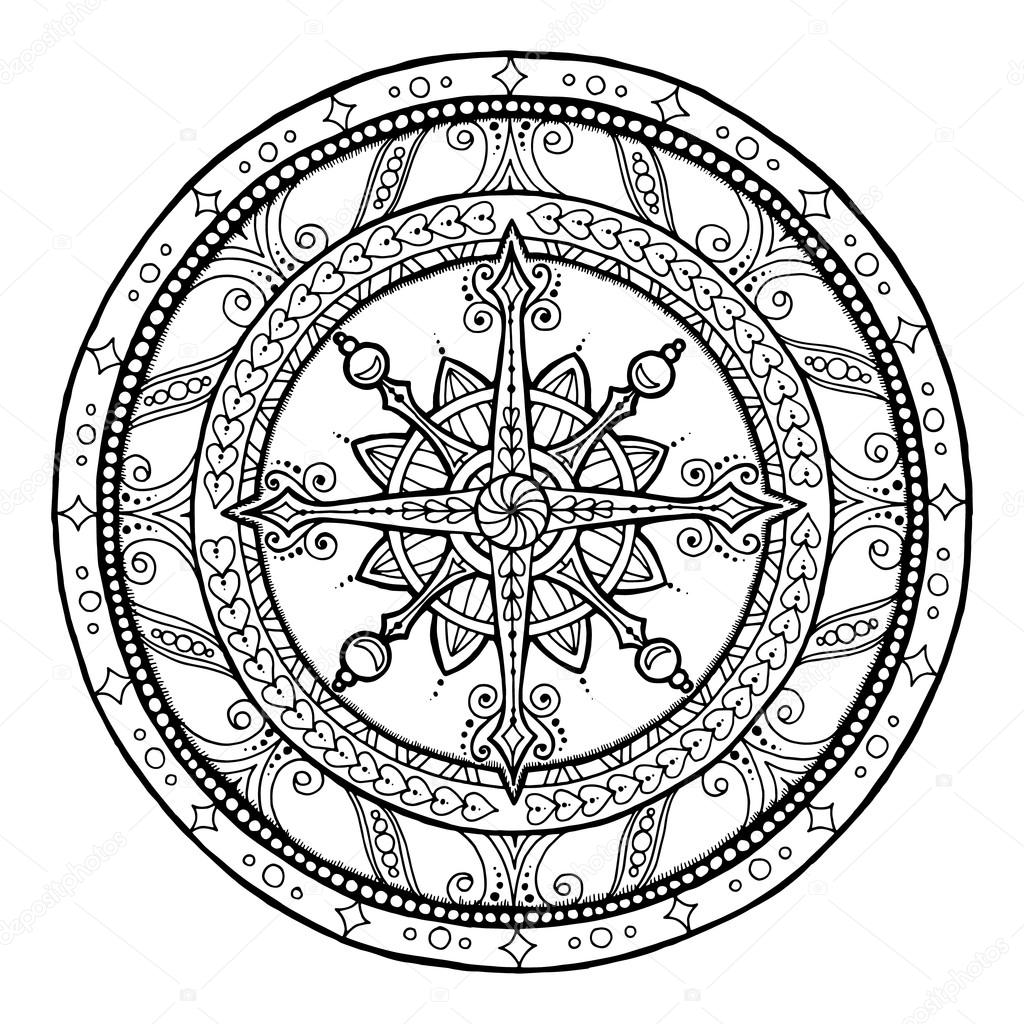 Christmas theme. Doodle snowflake on ethnic circle ornament. Hand ...