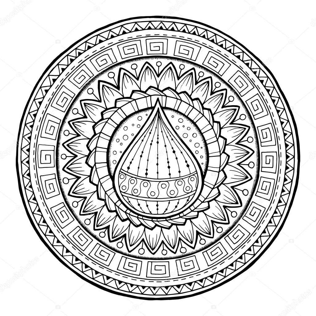 Doodle water drop on tribal circle ornament. Hand drawn art spring mandala. Made by trace from sketch. Black and white ethnic background. Zentangle pattern for coloring book for adults and kids.
