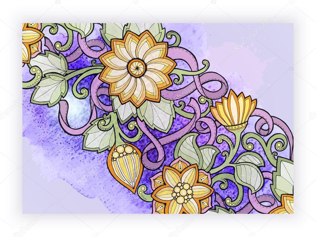 gratulationskort på webben Blommig kort. Hand dras konstverk med abstrakta blommor. Bakgrund  gratulationskort på webben