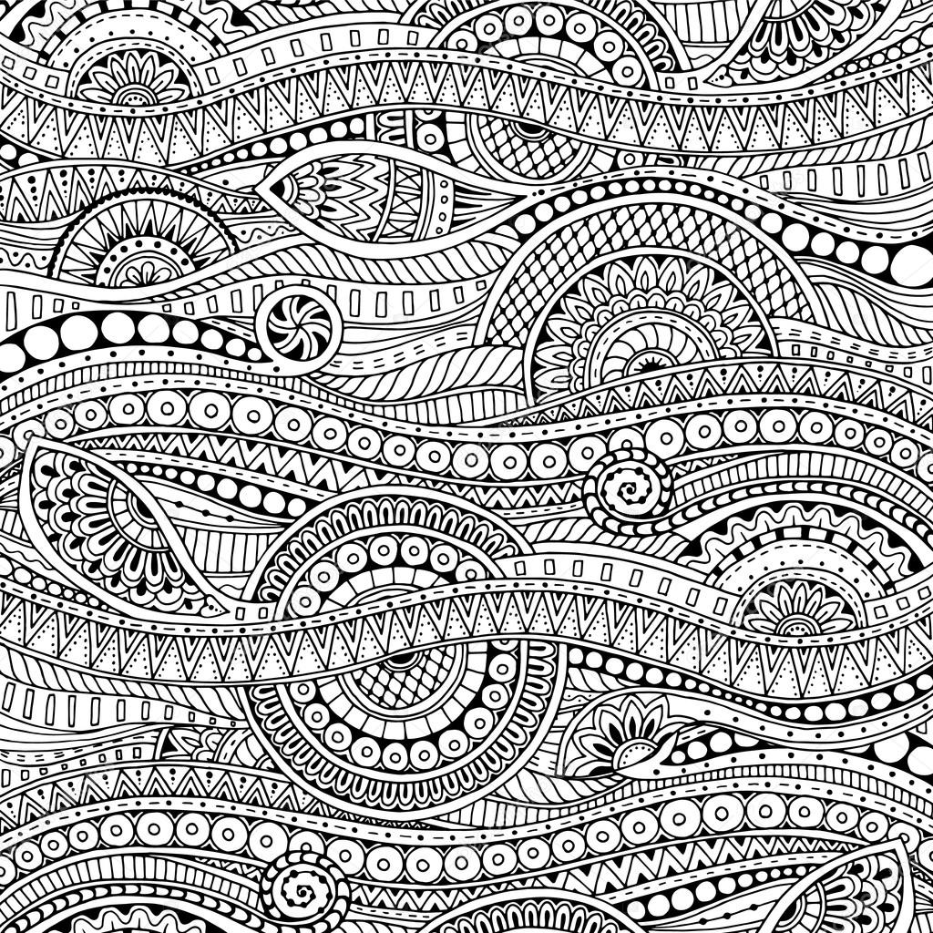 Ornamental ethnic black and white pattern. Floral background can be used for wallpaper, pattern fills, textile, fabric, wrapping, surface textures, coloring book for adults and kids.