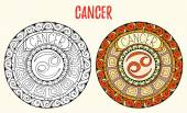 Zodiac signs theme. Black and white and colored mandalas with cancer zodiac sign. Zentangle mandala. Hand drawn mandala zodiac for tattoo art, printed media design, stickers, coloring book pages.