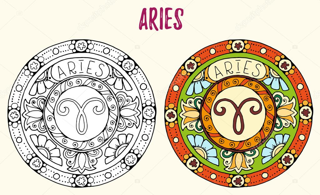 Zodiac Signs Theme Black And White And Colored Mandalas With Aries