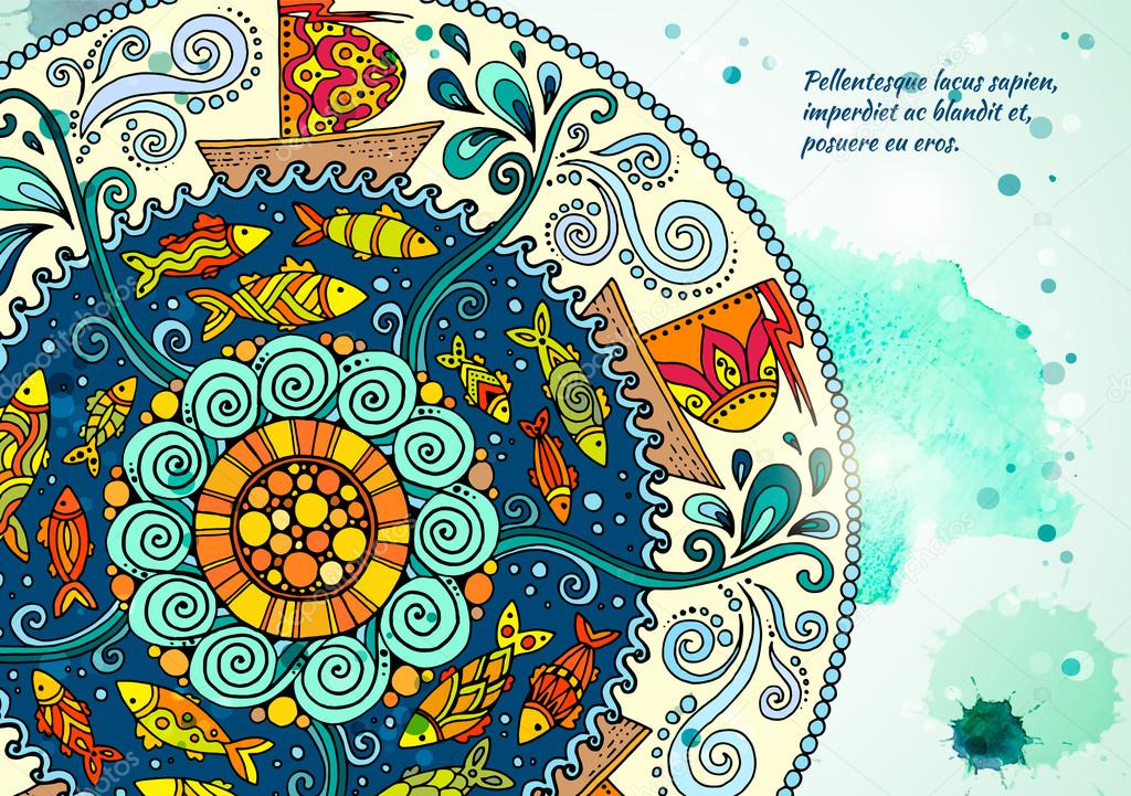 Vector template poster with watercolor paint and ethnic sea mandala. Pattern with decorative ornament, doodle fishes, waves, wind and ships. Abstract aquarelle background for flyers, posters or menu.