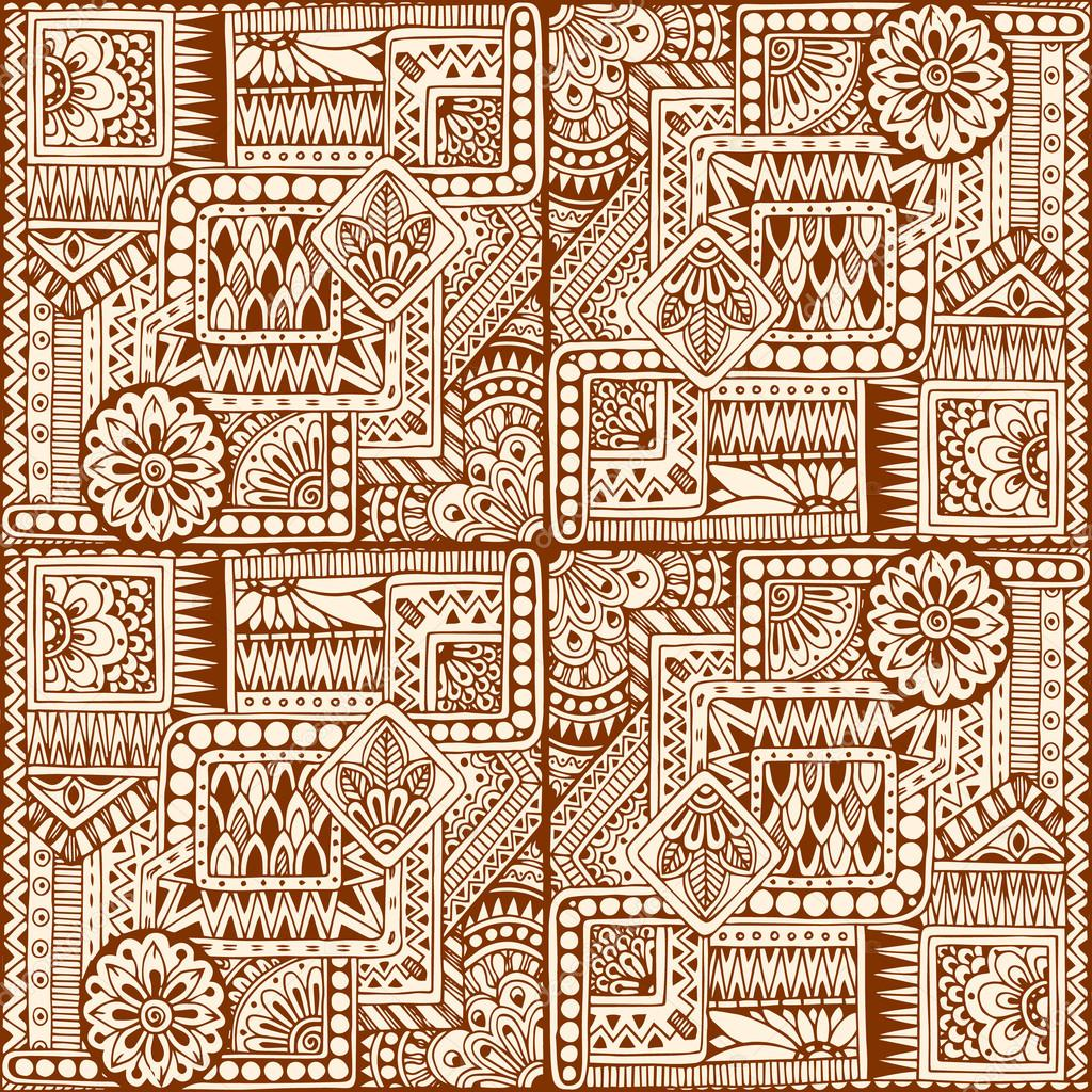 Ornamental ethnic black and white pattern with heart. Tribal background