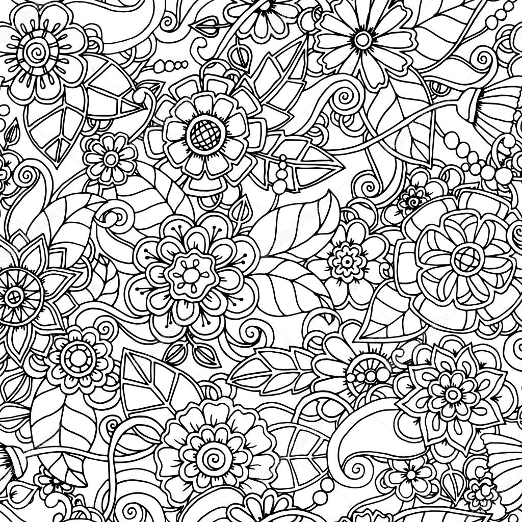 Black and white seamless hand drawn pattern with abstract flowers.
