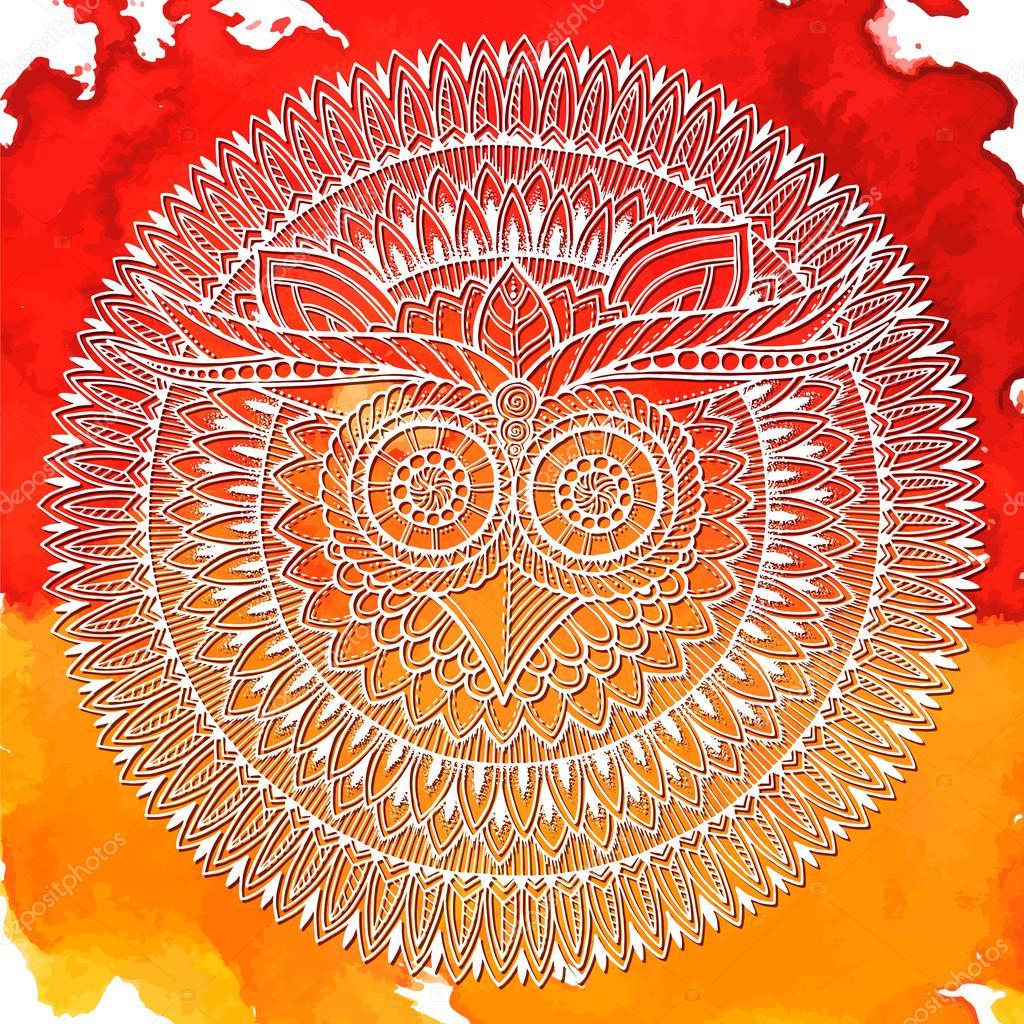 Vögel Mandala Thema Weiße Eule Mandala Mit Abstrakten Ethnischen