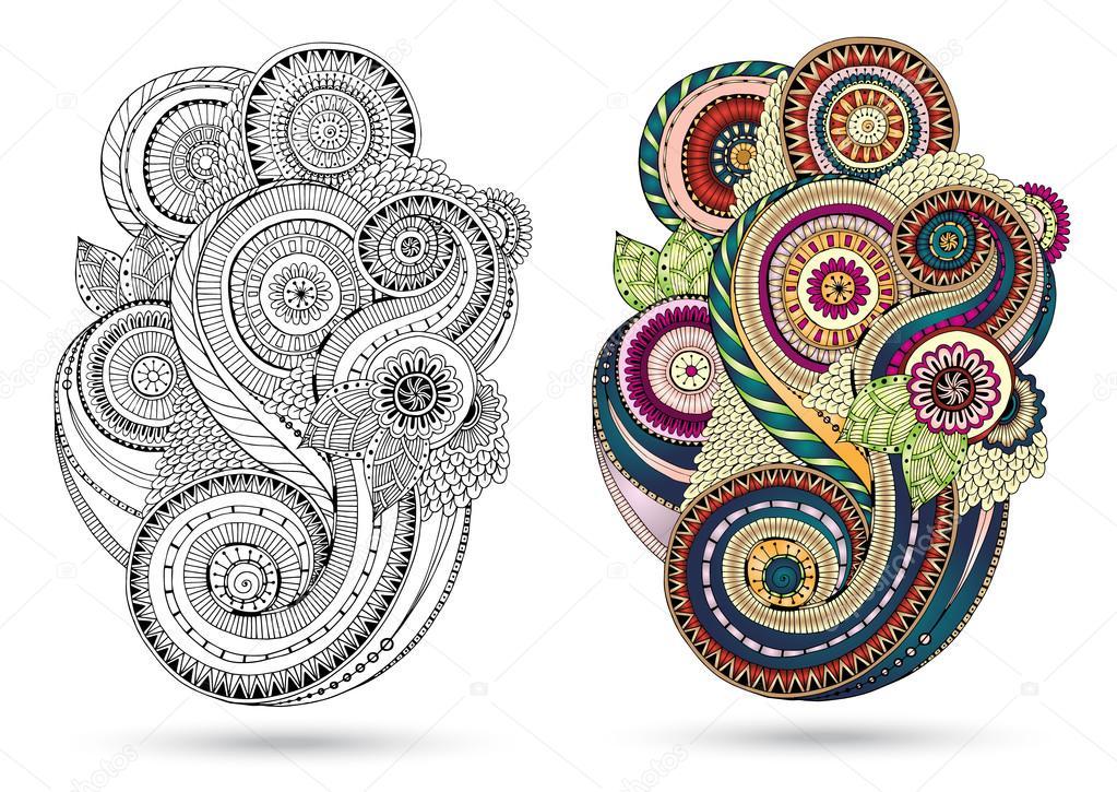 Elemento floral para tarjeta. Mano dibuja ilustraciones con flores ...