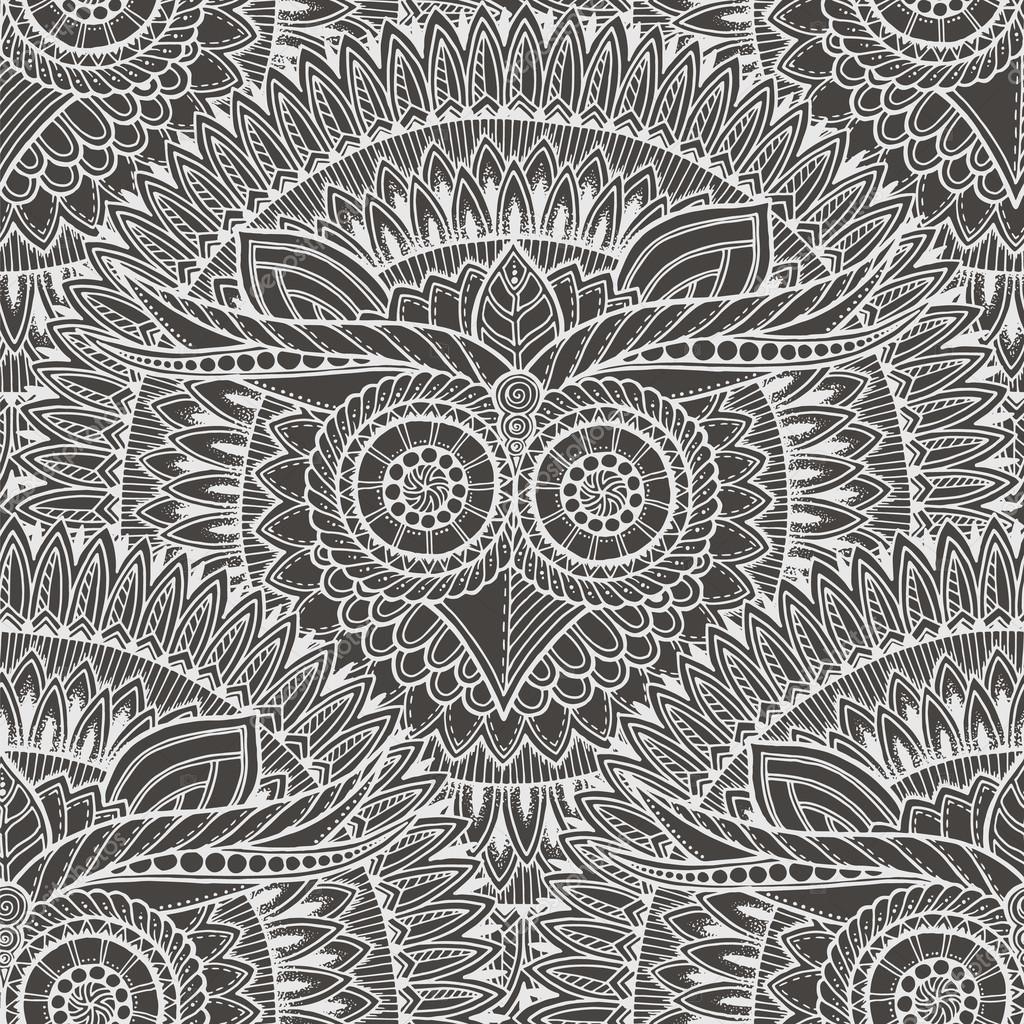 Cute owls in mandala seamless pattern. Black and white background.For adult an kids coloring book, wrapping, printing, fabric, textile. Monochrome vector illustration.