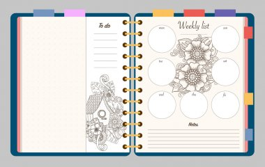 Flat design opened notepad with adult coloring page, notes, weekly and to do list in top view. Sketchbook, coloring book or diary mockup. Vector illustration of birdhouse and flowers.
