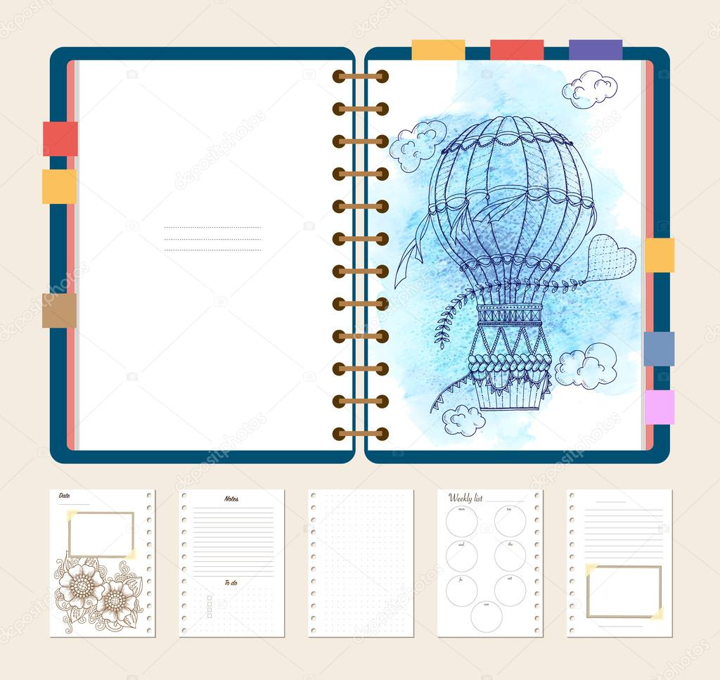 Flat design opened notepad with adult coloring page, notes and to do list in top view. Sketchbook, coloring book or diary mockup. Vector illustration of the air baloon on blue grunge background.