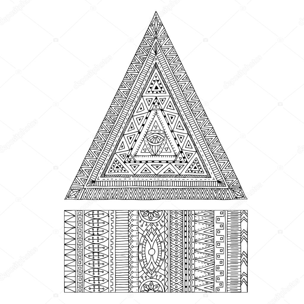 Original drawing tribal triangle and banner.